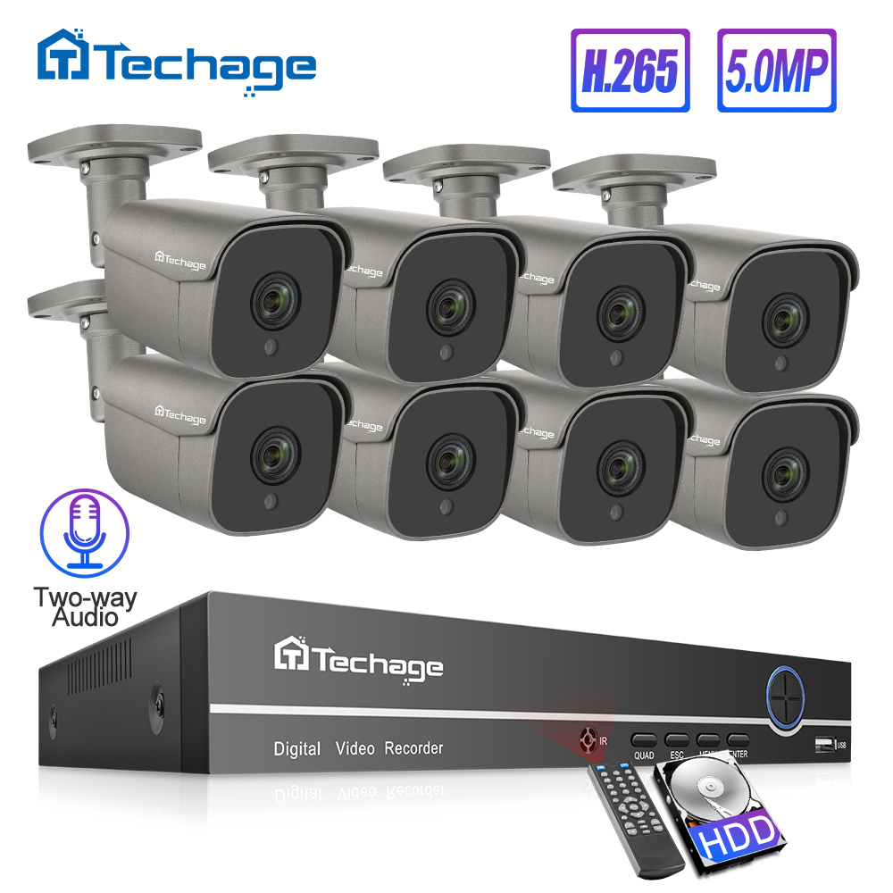 H.265 8CH 5MP POE NVR Kit Security CCTV System Human Body Detect Two-way Audio AI IP Camera Outdoor P2P Video Surveillance Set