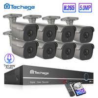 H.265 8CH 5MP POE NVR Kit de seguridad CCTV sistema de detección de movimiento humano Audio bidireccional AI IP Cámara al aire libre P2P Video Vigilancia Conjunto