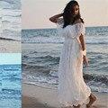 Bohemian Vestido De Noiva 2017 Elegante Barco Pescoço vestidos de Noiva de Renda Boho Praia vestido de Noiva Vestido de noiva de Manga curta renda