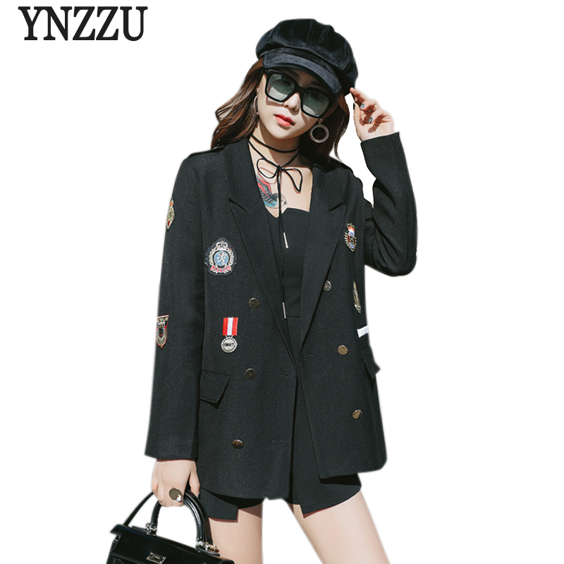Korean Style 2019 New Spring Women Blazer Chic Badge Long Sleeve Casual Streetwear Blazer Loose Female Jacket Plus Size AO521