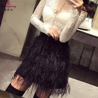 Yuxinfeng Fashion Ostrich Feather Skirt Women Sexy Short Suede Skirts Black White Pink Tassel Short Mini Party Skirts