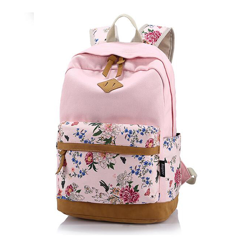 Canvas Printing Flowers 11colors Backpack Women 2017 Fashion Multifunction School Bags For Teenage Girls 30 OFF
