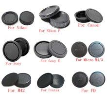 10 pçs/lote câmera tampa Do Corpo + Lente Rear Cap para Canon nikon Sony NEX para Pentax Olympus Micro M4/3 Panasonic M42 FD Camera Monte
