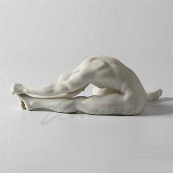 Creative Scrub Ceramic Nude Male Sculpture Body Art Statue Hand Pull Left Foot Man Body Figurine Home Decoration Crafts R1756