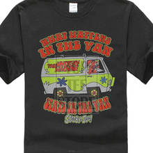 Scooby Doo Mens T Shirt What Happens In The Van Black Light Style Image
