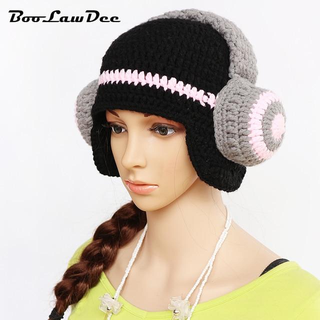 Boolawdee Women Manual Crochet Skull Hat Novelty Character Headset