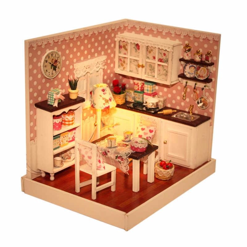 Mini Kitchen Room Box: Aliexpress.com : Buy DIY Handmade Wooden Miniature Doll