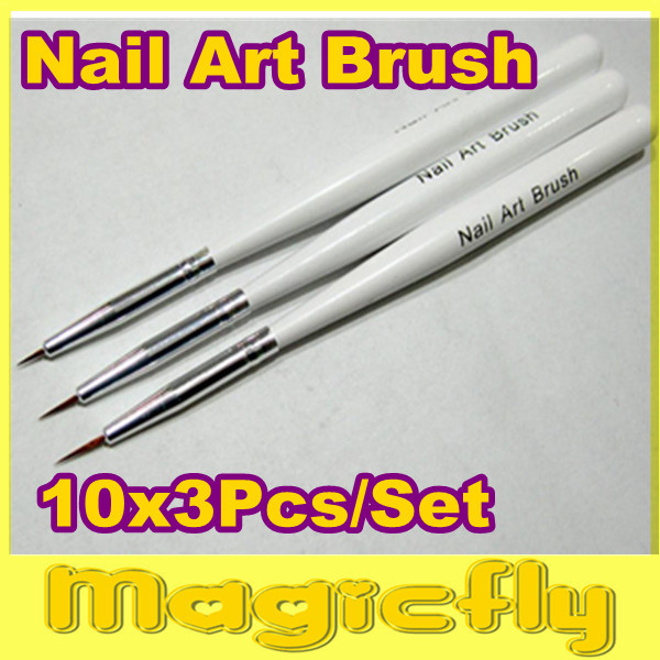 [DHB-001] 10x3pcs/set Nail Art Design Brushes Gel Set Painting Draw Pen Polish Brush set White Handle+Free Shipping