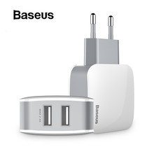 Baseus 2 USB EU Charger Plug For Samsung Huawei Xiaomi Dual USB Port Travel Wall Charger Mobile Phone USB Charger Adapter 5V2.4A(China)