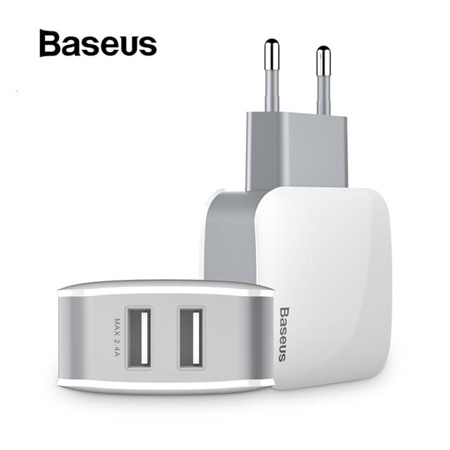 Baseus 2 USB EU の充電器のプラグサムスン華為 Xiaomi デュアル USB ポートトラベル壁の充電器携帯電話の Usb 充電器アダプタ 5V2 。 4A