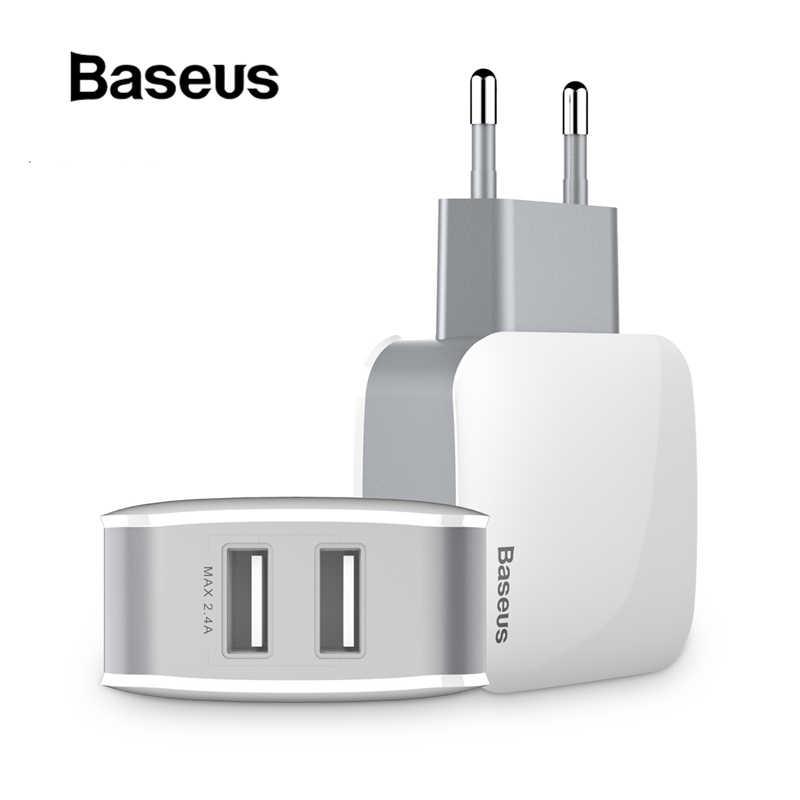 Baseus 2 USB ЕС зарядное устройство вилка для samsung huawei Xiaomi двойной USB порт путешествия настенное зарядное устройство мобильный телефон USB зарядное устройство адаптер 5V2. 4A
