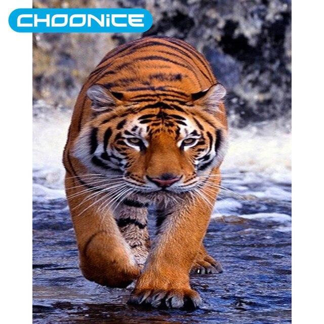 Mewarnai Gambar Berlian Lukisan Cross Stitch Cina Harimau Harimau