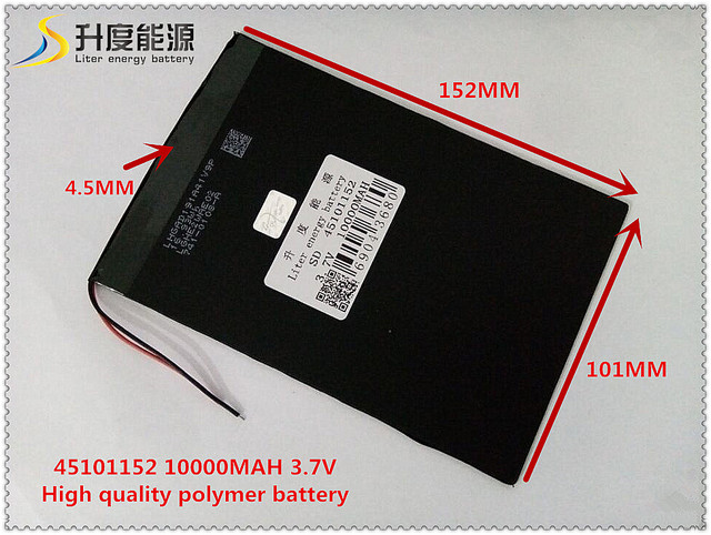 US $17 9 |3 7V 10000mAH 45101152 Polymer lithium ion / Li ion battery for  tablet pc