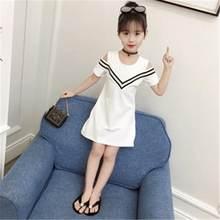 60b88a47e 2019 nuevo de Niños de moda de verano de algodón de las niñas vestido sin  tirantes niños manga corta Vestidos para niñas