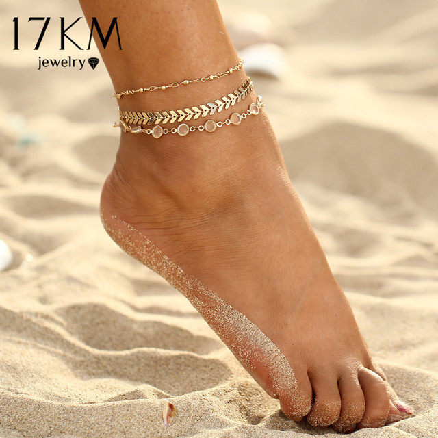17KM Crystal Sequins Anklet Set For Women Beach Foot jewelry Vintage Statement Anklets Boho Style Party Summer Jewelry 3Pcs/lot 1