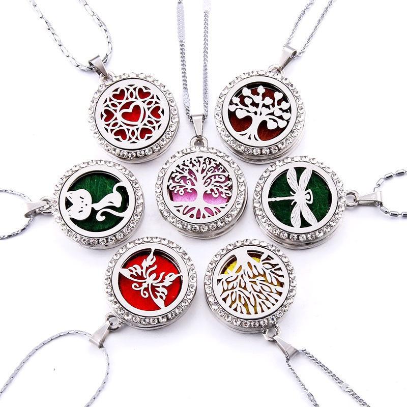 10 Stile Aroma Medaillon Halskette Magnetische Edelstahl Aromatherapie Ätherisches Öl Diffusor Parfüm Medaillon Anhänger Schmuck
