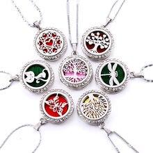 Colar com medalhão em 10 estilos, colar com medalhão de aço inoxidável magnético, difusor de perfume e óleo essencial, aromaterapia, joia com pingente