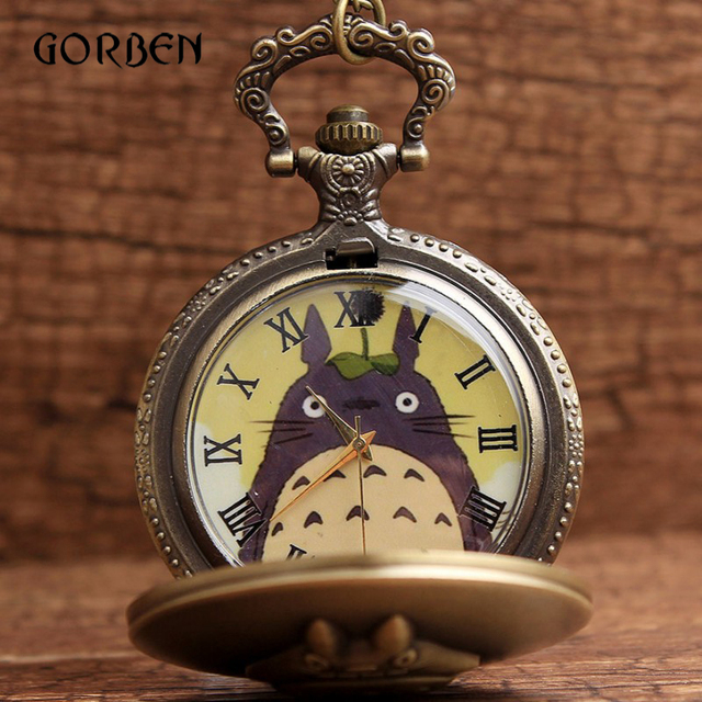 Cute Bronze Japanese Animated Locket Totoro Pocket Watch Necklace Chain Antique
