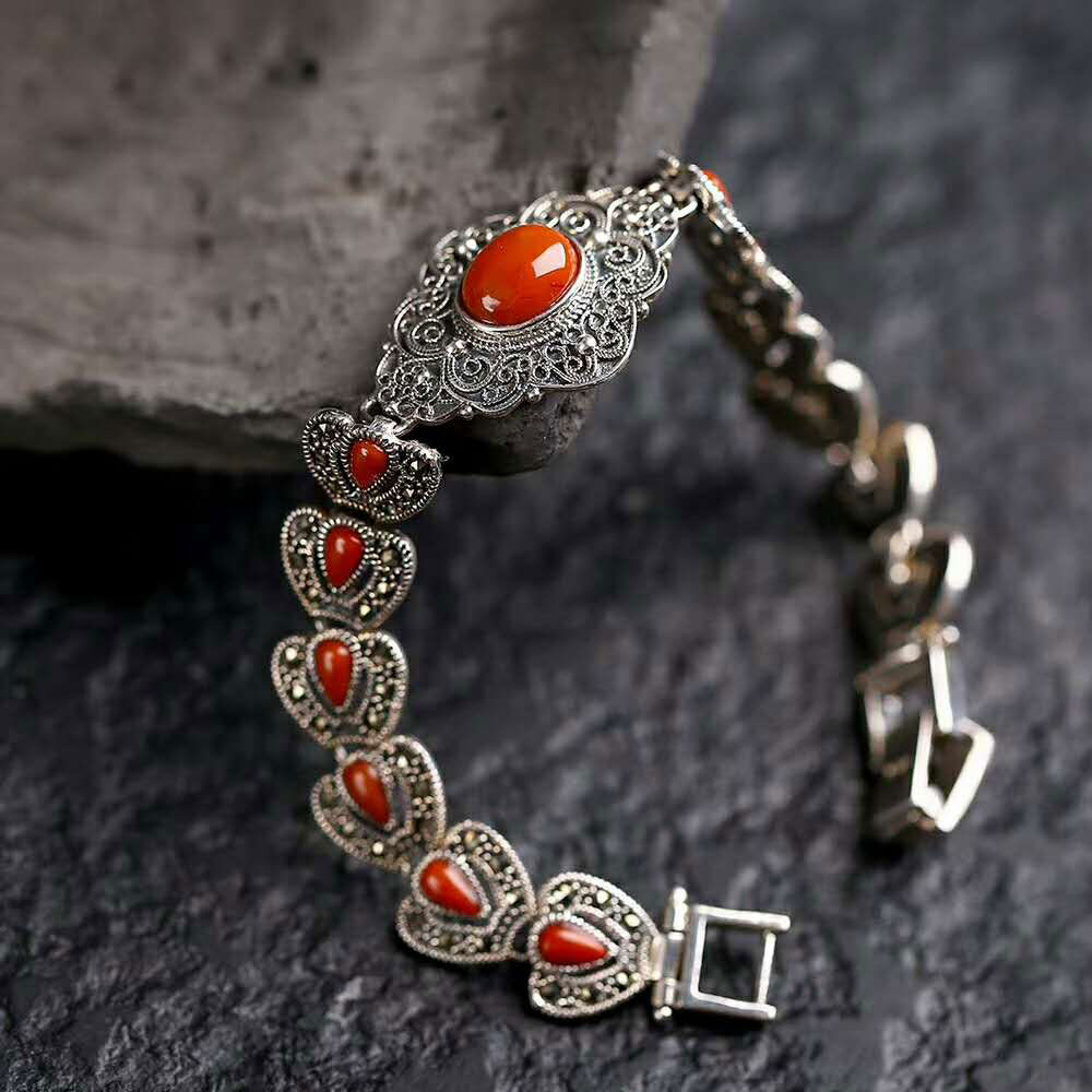 RADHORSE 925 Silver Bracelets  for Women Fine Jewelry Water droplet Heart Agate The New Style Luxurious Bracelets Silver 18cmRADHORSE 925 Silver Bracelets  for Women Fine Jewelry Water droplet Heart Agate The New Style Luxurious Bracelets Silver 18cm