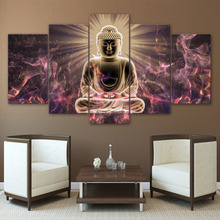 ФОТО  5 panel large HD printed canvas oil painting figure of Buddha canvas print art  decor wall art picture for living room F0709