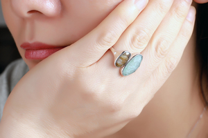 Image 4 - DORMITH  real 925 sterling silver gemstone ring natural amazonite labradorite stone rings for women jewelry rejustable size ring