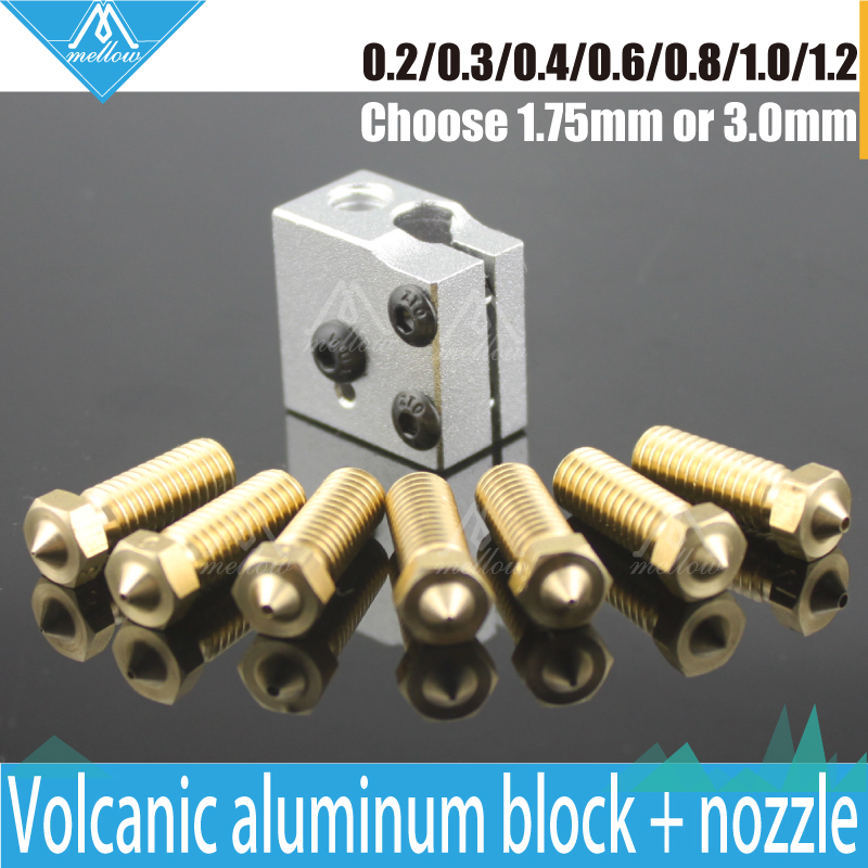 3D Printer Volcano Aluminium Heater Block +  Volcano Extra 0.2mm---1.2mm Brass Nozzle  Full Metal Kit  for DIY 3D printer