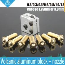 3D Принтер Вулкан Алюминиевого Нагревательного Блока + Вулкан Дополнительные 0.2 мм — 1.2 мм Латунь Сопла Полностью Металлический Комплект для DIY 3D принтер