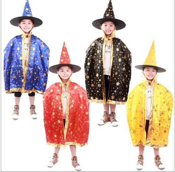Boy Girl Kids Children Halloween Costumes Witch Wizard Cloak Gown Robe And Hat Cap Stars Fancy -1931