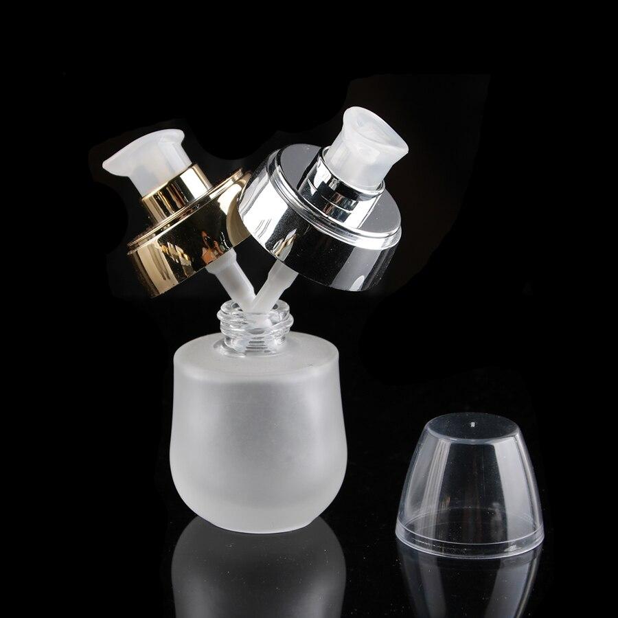 30 ml 1 floz vidrio transparente esmerilado loción cosmética tóner suero botella oro plata flor tapa 50 unids/lote, merx marca de belleza-in Botellas rellenables from Belleza y salud    1