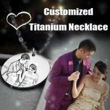Iutopian Customized Engrave Photo Name Necklace Stainless Steel unique personalized Pendant Necklace For Women gift #DIY01(China)