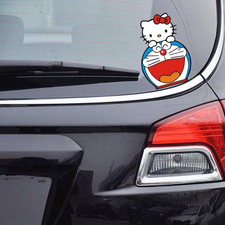 Car-Styling Hello Kitty and DORAEMON Funny Car Sticker Decal for Bmw E39 Mercedes Volkswagen Skoda Polo Toyota Opel Renault Kia