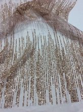 New African Shining, Sequin patches Gold Striped Heavy Lace Fabric, glitter Wedding lace sequin Tissu