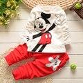 Caliente venta de otoño de los bebés niñas Minnie se adapte a los niños camiseta + pantalones de algodón 2 unids adapte a los niños ocasionales trajes