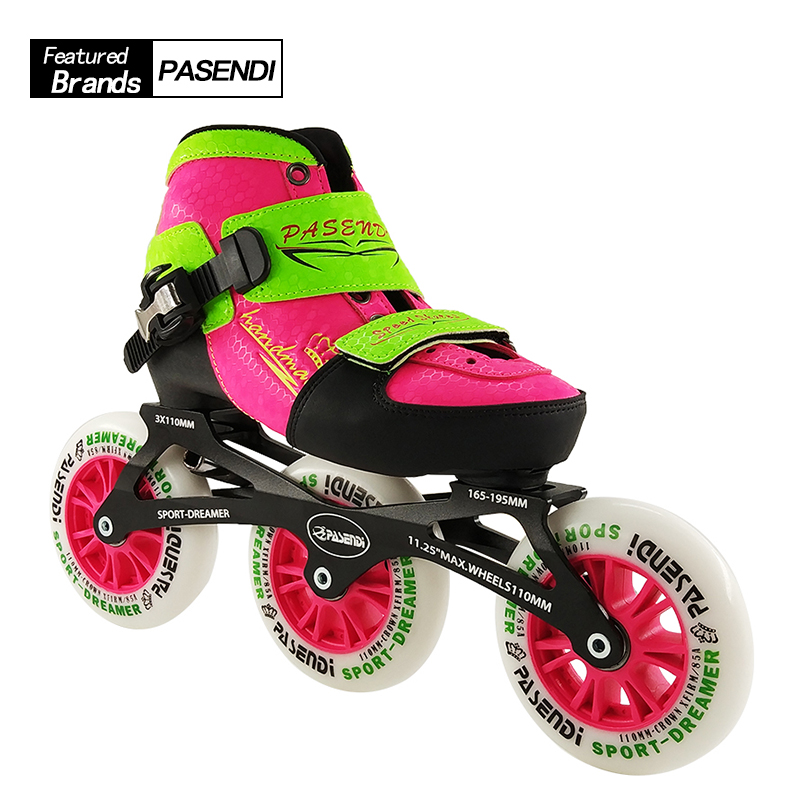 PASENDI Inline Skate Boots 2017 NEW Arrival Adjustable Kids/Children Single Wash Shoes Roller Skating Shoes 3X110 Skates Boots professional speed skate shoes inline skates frame adults kids roller skating boots frame aluminium alloy frame