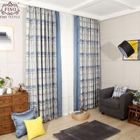 Plaid Jacquard Window Curtains Bedroom Blue Modern Window Blinds Geometric Thicken Drapery Panels Decor Fabric For