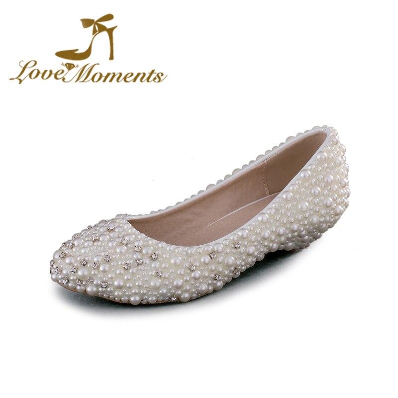 33e50a1b8 أحذية الزفاف منخفض كعب جولة تو اللباس أحذية الزفاف الحوامل امرأة حزب أحذية  زائد الحجم 43 العروسة أحذية بيضاء اللؤلؤ الكريستال