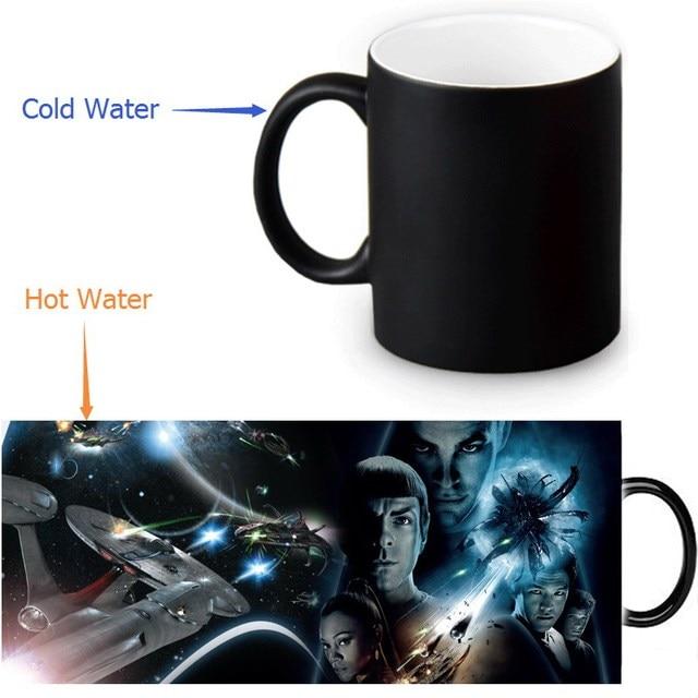 12oz Star Trek Heat Changing Color Ceramic Tea Cup Sensitive Coffee Mug Transforming Black Magic