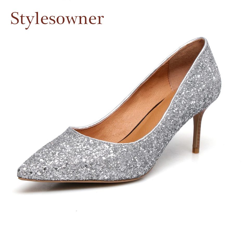 Stylesowner silver gold bling bling fashion women pumps pointed toe shallow mouth thin high heel sexy lady party wedding shoes doratasia denim eourpean style big size 33 43 pointed toe women shoes sexy thin high heel brand design lady pumps party wedding