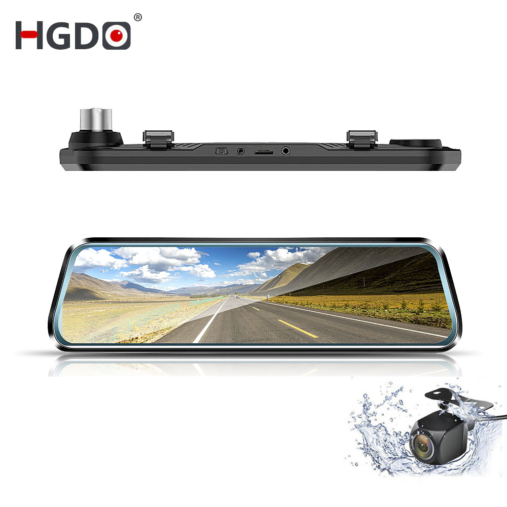 HGDO Car DVR Dash-Cam Rear-View-Mirror 10inch Video-Recorder Touch-Screen Dual-Lens Autoregister