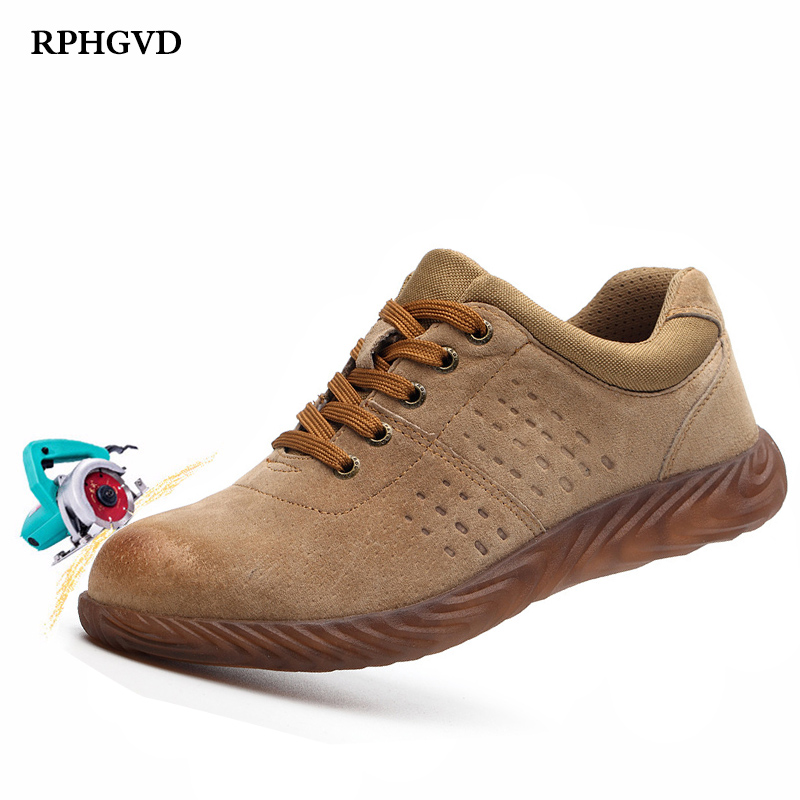 Labor Insurance Shoes Men Steel Head Anti-smash Stab-resistant Anti-slip Electric Welder Beef Tendon Jelly Bottom Work Shoes(China)