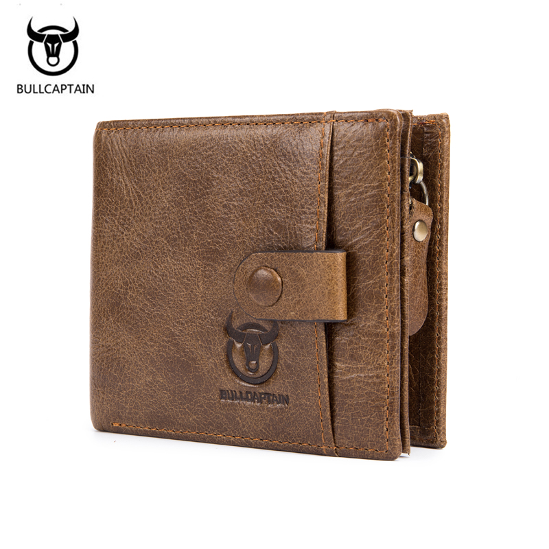 все цены на BULLCAPTAIN 2018 New Genuine Leather Men Wallet Fashion Vintage Zipper&Hasp Male Short Men Wallets Coin Purse Brand More Styles