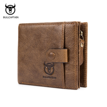 BULLCAPTAIN 2018 New Genuine Leather Men Wallet Fashion Vintage Zipper&Hasp Male Short Men Wallets Coin Purse Brand More Styles цена и фото
