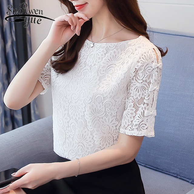 90718f90298188 New 2018 Summer Solid Lace Fashion Women Blouses Shirts Chiffon Elegant  White Light Blue Short Sleeve Female Tops Blusas 0361 40
