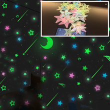 3D Stars Glow In The Dark Wall Stickers Luminous Fluorescent Wall Stickers For Kids Baby Room Bedroom Ceiling Home Decor(China)