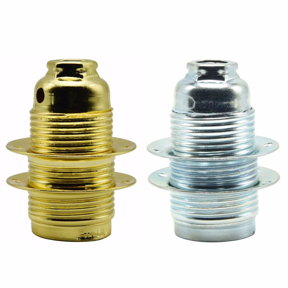 E14 Vintage Socket 4A 250V Screw Bulb Bases 2 Rings Lamp Holder Metal Alloy Plating Lamp