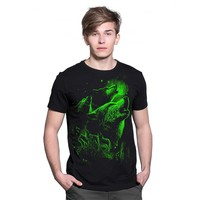 Groothandel zomer merk kleding Nieuwigheid Mens tshirt homme 3D Glow in de Dark Lichtgevende t-shirt Mannen Wolf Gedrukt Korte Mouw tee