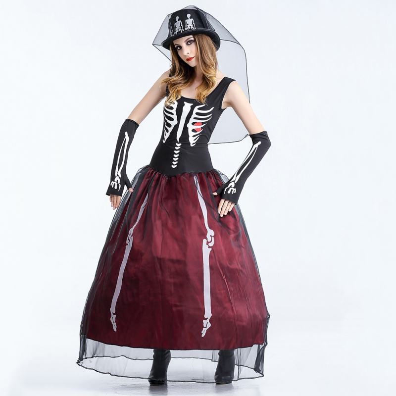 Fashion Halloween Ghost Bride Role Play Red Wine Cap Costume Vampire Witch Death Zombies Female Costumes