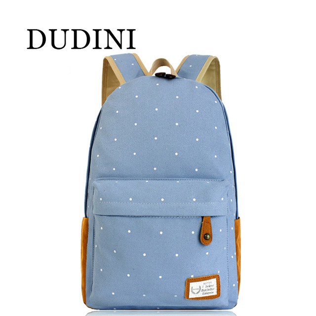 DUDINI Fashion Women Canvas Backpack Mochilas Dot Print Casual Women Schoolbag For Teenager Girls Backpack Mochila Mujer Feminin