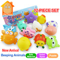 Minitudou suave baby bath toys 0-12 months12pcs beeding bebé animal de la historieta de baño sonando toys educational toys