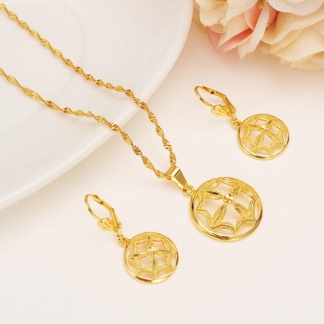 ba52ba4f7ae8 14 K sólido amarillo oro fino lleno nueva moda paraguas colgante Pendientes  inicial cadena mujeres Niza